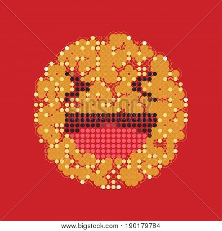 Laughing Yellow Smiley In Dots. Like Social Icon. Button For Expressing Social Emoji. Flat Vector Il