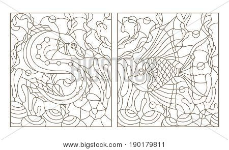 Set contour illustrations in the stained glass style with bright abstract two exotic fish amid seaweed coral and shells