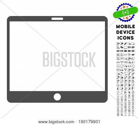 Mobile Tablet icon with digital icon pack. Vector illustration style is a flat iconic symbol, gray colors. Designed for web and software interfaces.