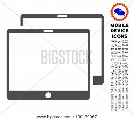 Mobile Tabs icon with mobile device pictogram kit. Vector illustration style is a flat iconic symbol, gray colors. Designed for web and software interfaces.