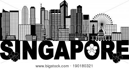 Singapore City Skyline Silhouette Outline Panorama Text Black Isolated on White Background vector  Illustration