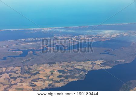 The eastern coast of North Carolina Morehead City and Atlantic Beach. Typical landscape of islands and beaches