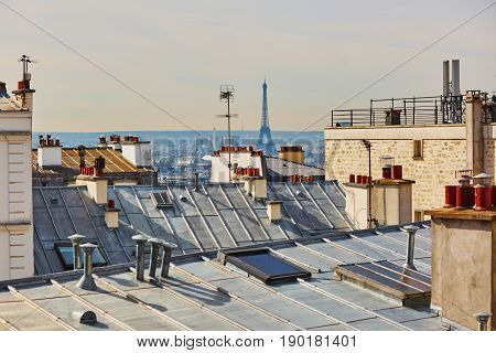 View Of The Eiffel Tower And Parisian Roofs, Photo Taken From Montmartre Hill