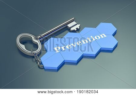 hexagon structure shaped as a keyring with text: prevention (3d render)