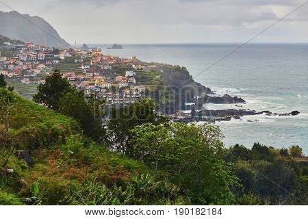 Scenic View Of Fishing Village Seixal With Its Lava Pools On Madeira Island
