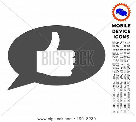Thumb Up Message icon with mobile pictogram collection. Vector illustration style is a flat iconic symbol, gray colors. Designed for web and software interfaces.