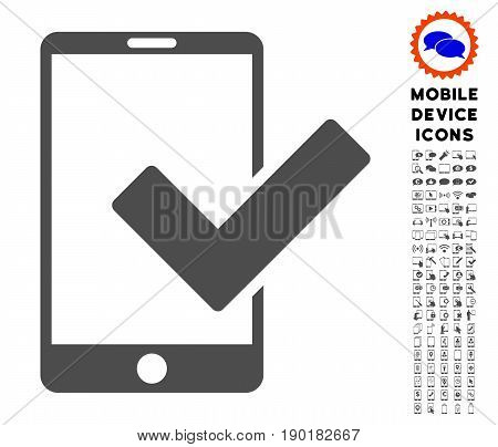 Valid Smartphone icon with mobile glyph set. Vector illustration style is a flat iconic symbol, gray colors. Designed for web and software interfaces.