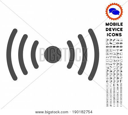 Wi-Fi Point icon with cell phone icon set. Vector illustration style is a flat iconic symbol, gray colors. Designed for web and software interfaces.