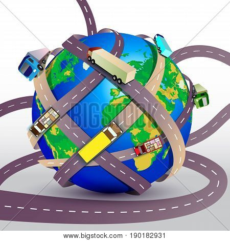 Vector Illustration. Planet Earth Braided Many Roads With Trucks. Transportation Concept For Web Ban