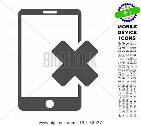 Wrong Smartphone icon with mobile communicator glyph set. Vector illustration style is a flat iconic symbol, gray colors. Designed for web and software interfaces.