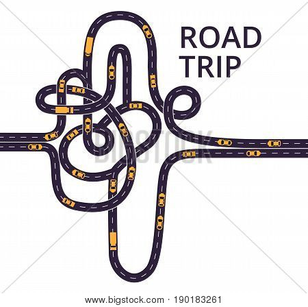 Curvy asphalt roads, with lanes separated with middle white dashed line. Tangled roads with cars and trucks on the white background.