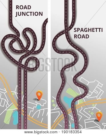Road junction and spaghetti roards. Road infographic with colorful pin pointer vector illustration. Vertical banners set.