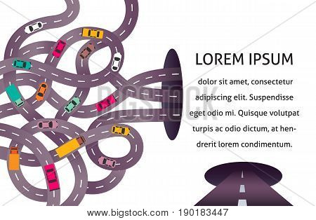 Vector illustration with intertwining. Vector illustration with city map, roads cars, truck and pin pointers. Picture of traffic jam for banner, brochure.