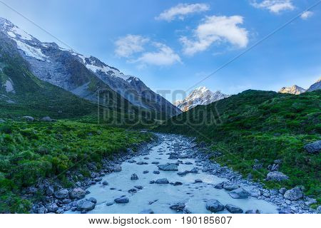 Beautiful scenery of Hooker Valley Track the most popular short walking track within the Aoraki/Mount Cook National Park South Island of New Zealand