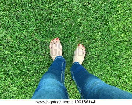 Barefoot selfie on the grass