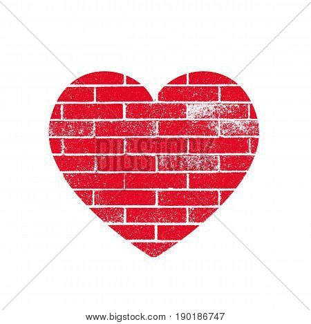 Isoltted distress grunge heart with brickwork texture. Element for greeting card Valentine s Day wedding t-shirt. Creative concept. Vector illustration