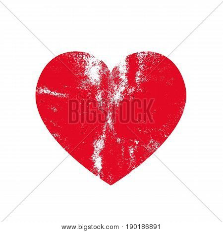Isoltted distress grunge heart with natural texture. Element for greeting card Valentine s Day wedding t-shirt. Creative concept. Vector illustration