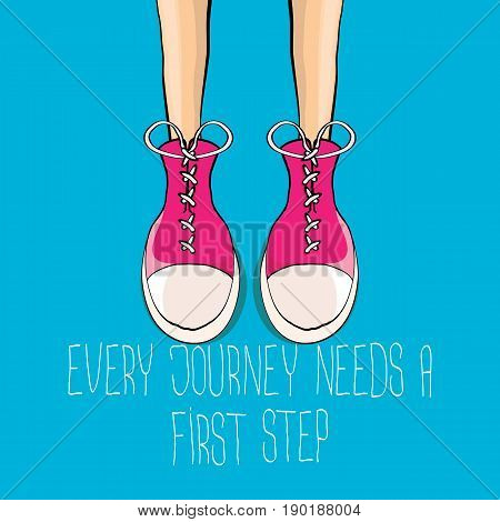vector colorful hand drawn vintage hipster sneakers isolated on blue background with motivation quote Every journey needs a first step