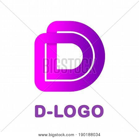 Abstract letter D - creative logo template vector illustration. Logo for corporate identity of company of ribbon, closed line of gradient color, tortuous path. Neon glowing letter. Typographical font. Graphic design elements.