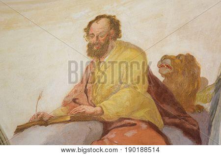 Fresco Of St Luke The Evangelist In Loreto Prague
