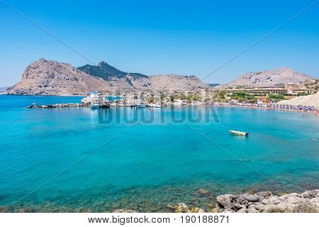View of Kolymbia bay and coast. Rhodes Dodecanese Greece Europe