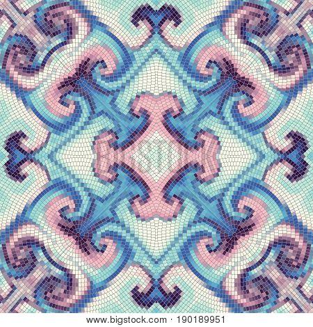 Seamless background pattern. Decorative symmetric mosaic art pattern. Gamma of pastel colors.