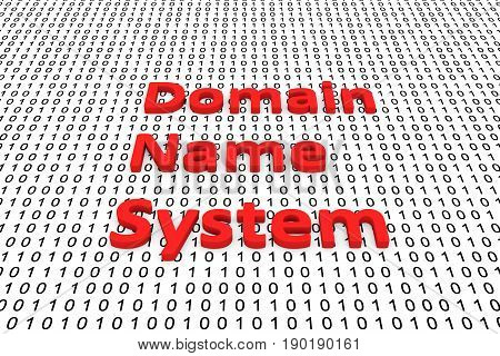 Domain name system in the form of binary code, 3D illustration