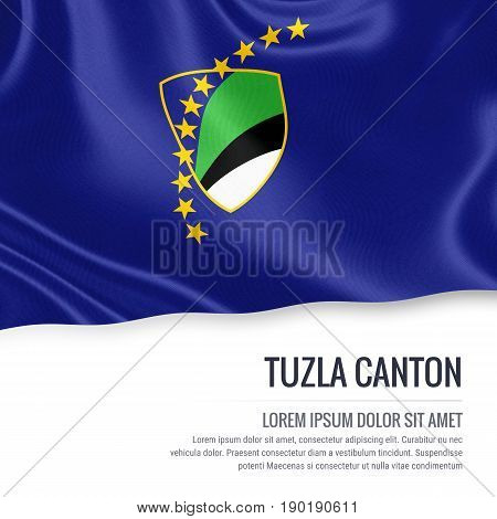 Federation of Bosnia and Herzegovina state Tuzla Canton flag waving on an isolated white background. State name and the text area for your message. 3D illustration.