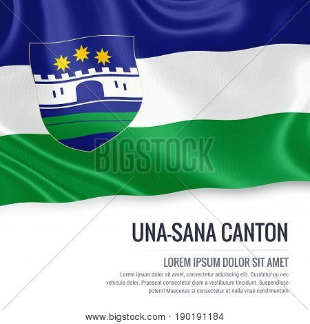 Federation of Bosnia and Herzegovina state Una-Sana Canton flag waving on an isolated white background. State name and the text area for your message. 3D illustration.