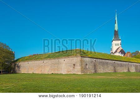 Small Coastal Gate Bastion and Saint Olaf's Church. Tallinn Estonia Europe