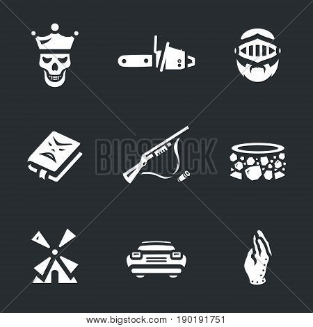 Skeleton, chainsaw, knight, book, weapon, well, mill, auto, hand.