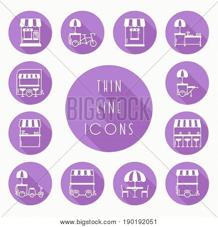Street food retail thin line icons set. Food truck, kiosk, trolley, wheel market stall, mobile cafe, shop, tent, trade cart. Vector style linear icons. Isolated flat illustration. Symbols silhouette