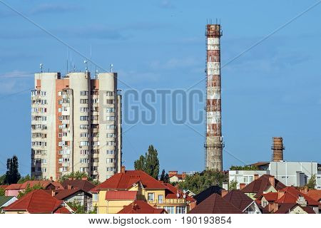 View on tele center district and industrial factory tower in chisinau city, Moldova
