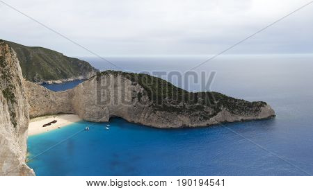 Beautiful Navagio beach panorama with shipwreck on Zakynthos island Greece