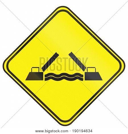 Opening Bridge Warning Sign Used In Uruguay
