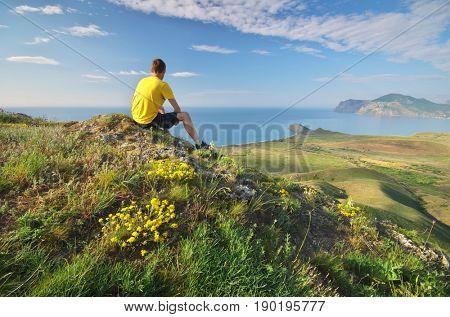 Man in mountain. Conceptual design.