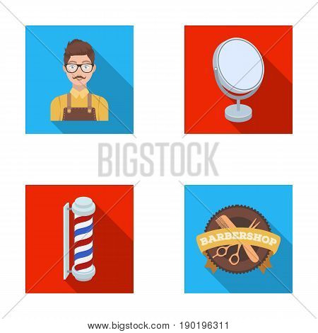 Male hairdresser, sign, mirror and other equipment for a hairdresser.Barbershop set collection icons in flat style vector symbol stock illustration .