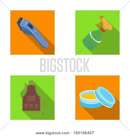 Electric clipper, apron, cream and other accessories for a male hairdresser.Barbershop set collection icons in flat style vector symbol stock illustration .