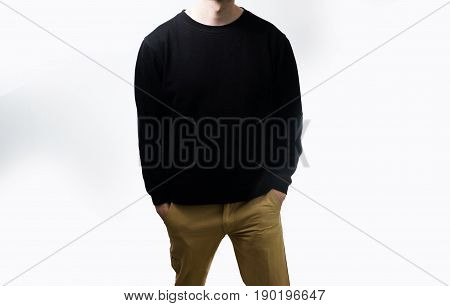 The Man In The Blank Black Hoodie, Sweatshirt, Stand, On A White Background