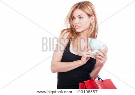 Beautiful Blonde Shopper Buying New Clothes