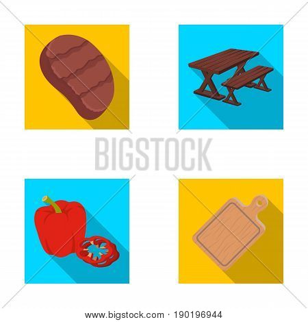 Fried steak, table with a bench for relaxation, sweet pepper, cutting board.BBQ set collection icons in flat style vector symbol stock illustration .
