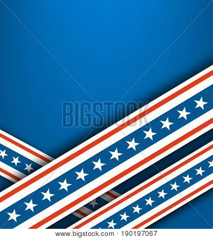 Blue background with red-white ribbons and white stars.Abstract background for independence day