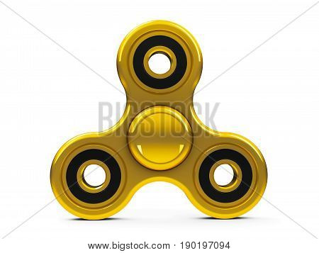 Gold hand spinner toy isolated on white background - it relieves stress three-dimensional rendering 3D illustration