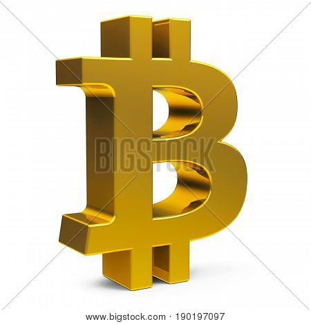 Golden Bitcoin sign isolated on white background three-dimensional rendering 3D illustration