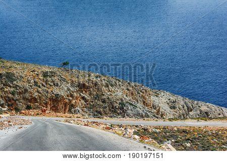 The road to Seitan limania or Stefanou beach, Crete
