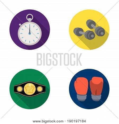 Boxing, sport, stopwatch, watch .Boxing set collection icons in flat style vector symbol stock illustration .