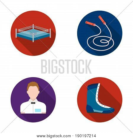 Ring, rope, referee, sneakers .Boxing set collection icons in flat style vector symbol stock illustration .