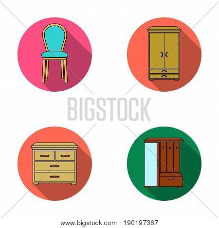 Armchair, cabinet, bedside, table .Furniture and home interiorset collection icons in flat style vector symbol stock illustration .