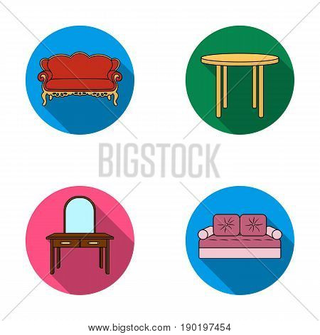 Sofa, armchair, table, mirror .Furniture and home interiorset collection icons in flat style vector symbol stock illustration .