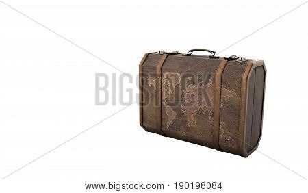 Vintage Travel Suitcase 3D Render On White Background No Shadow